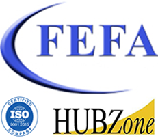 FEFA, LLC, logo with ISO certified and HUBZone seals